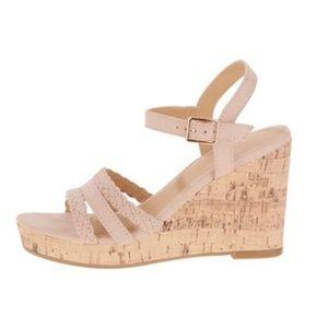 Time and Tru blush strap wedge sandal